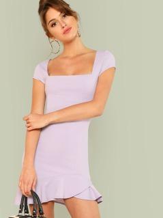 Square Neck Cap Sleeve Bodycon Dress LAVENDER