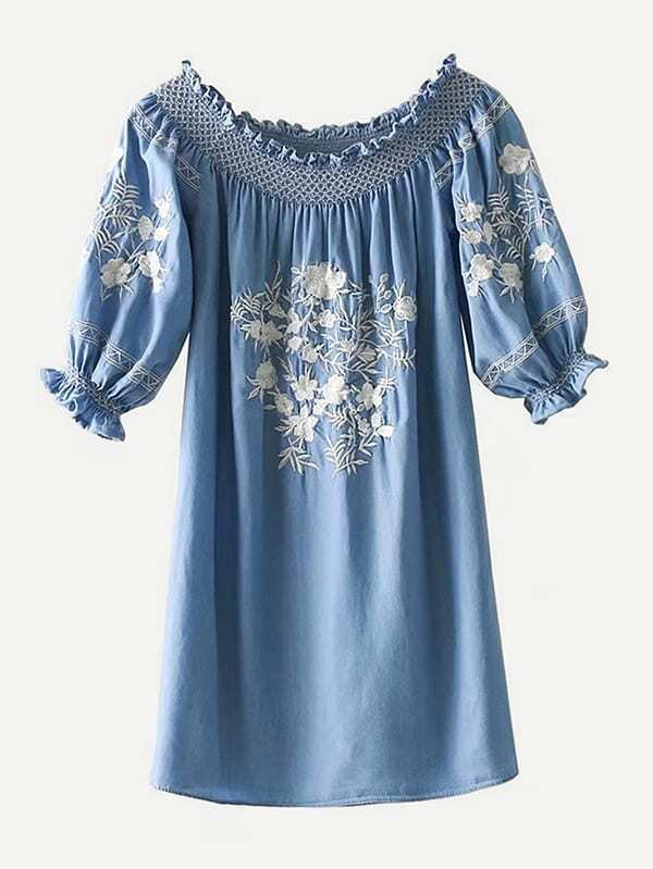 Frill Trim Embroidery Dress girls floral embroidery frill trim dress