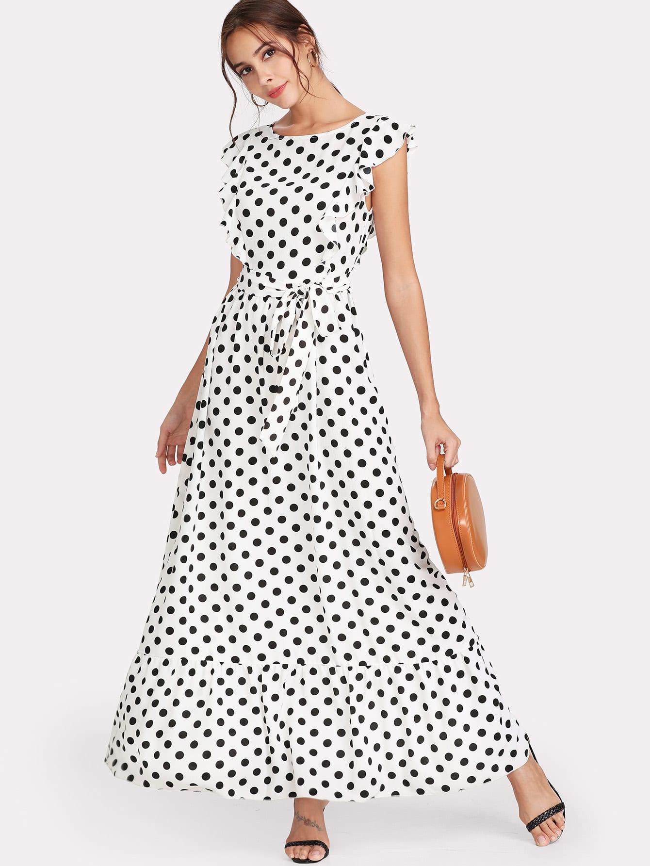 Ruffle Trim Polka Dot Textured Dress ruffle trim belted polka dot dress