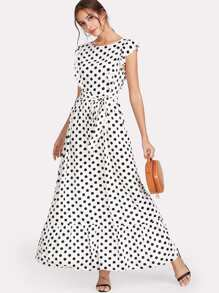 Ruffle Trim Polka Dot Textured Dress
