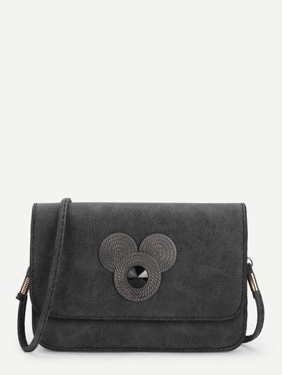 Mental Detail Suede Crossbody Bag