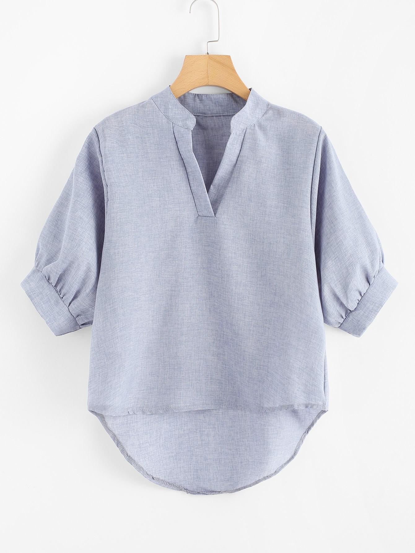 Купить Модная асимметричная блуза, рукав-фонарик, null, SheIn