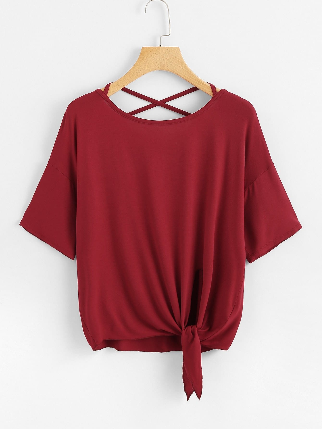 Crisscross Back Knot Hem Tee knot hem red lip tee