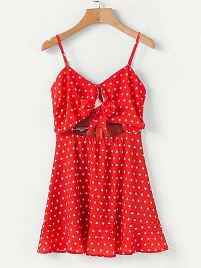 All Over Stars Knotted Front Cami Dress