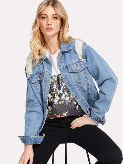 Pocket Front Ripped Denim Jacket