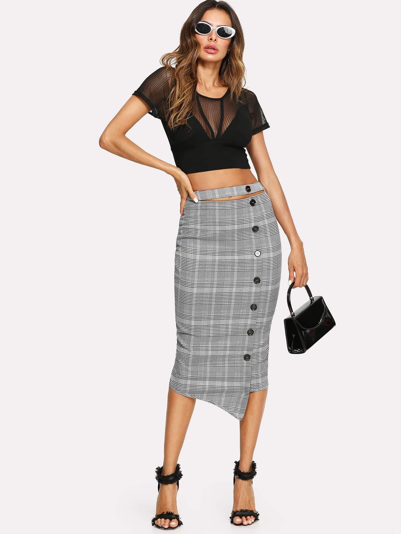 Button Up Split Back Plaid Skirt split back plaid skirt
