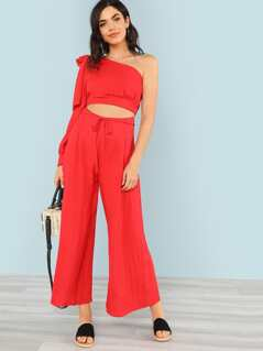 One Shoulder Crop Top with Bow and Matching Wide Leg Pants RED