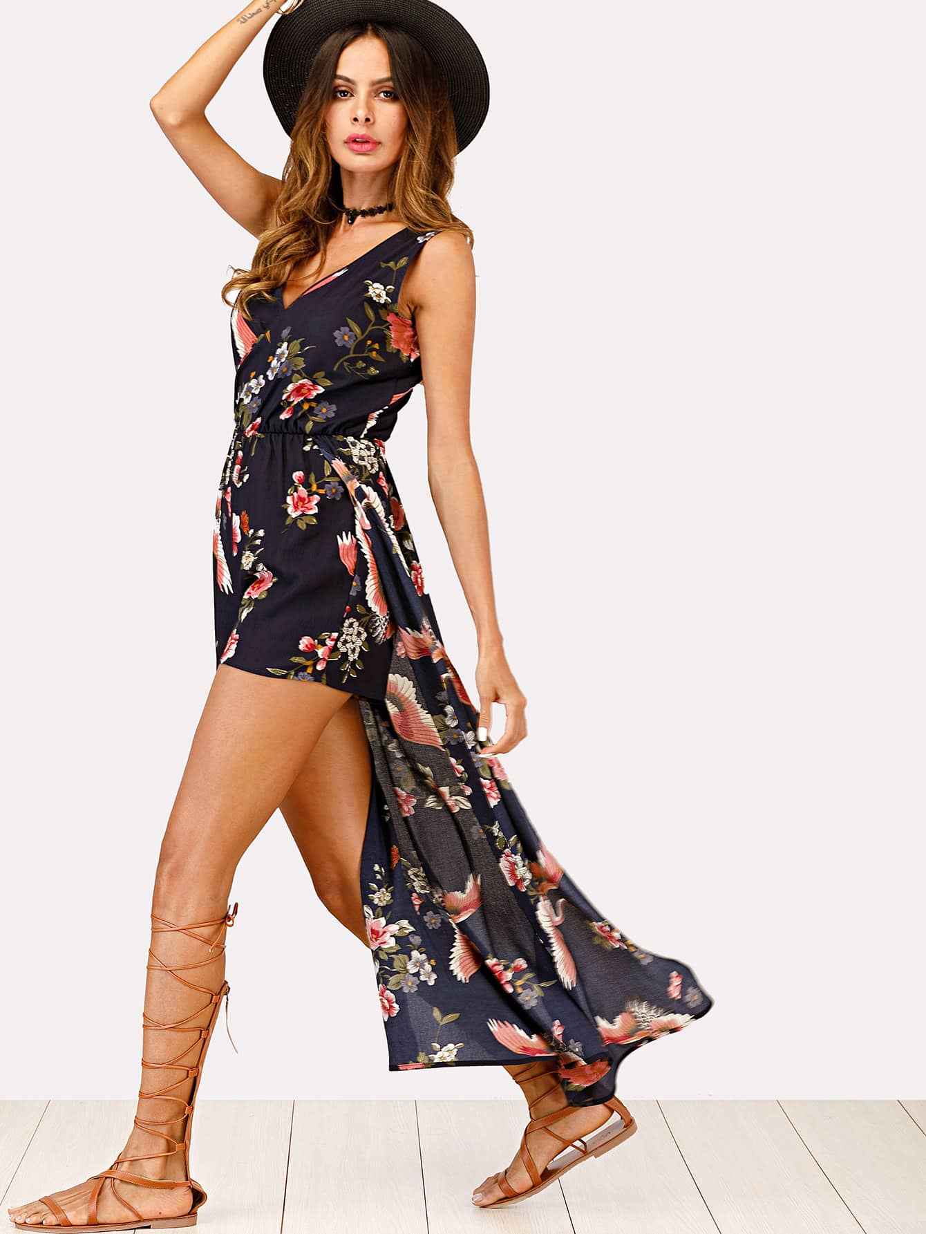 Floral Print Dip Hem Wrap Jumpsuit tropical print dip hem wrap dress