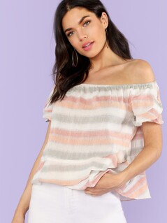Off Shoulder Petal Sleeve Striped Top PINK