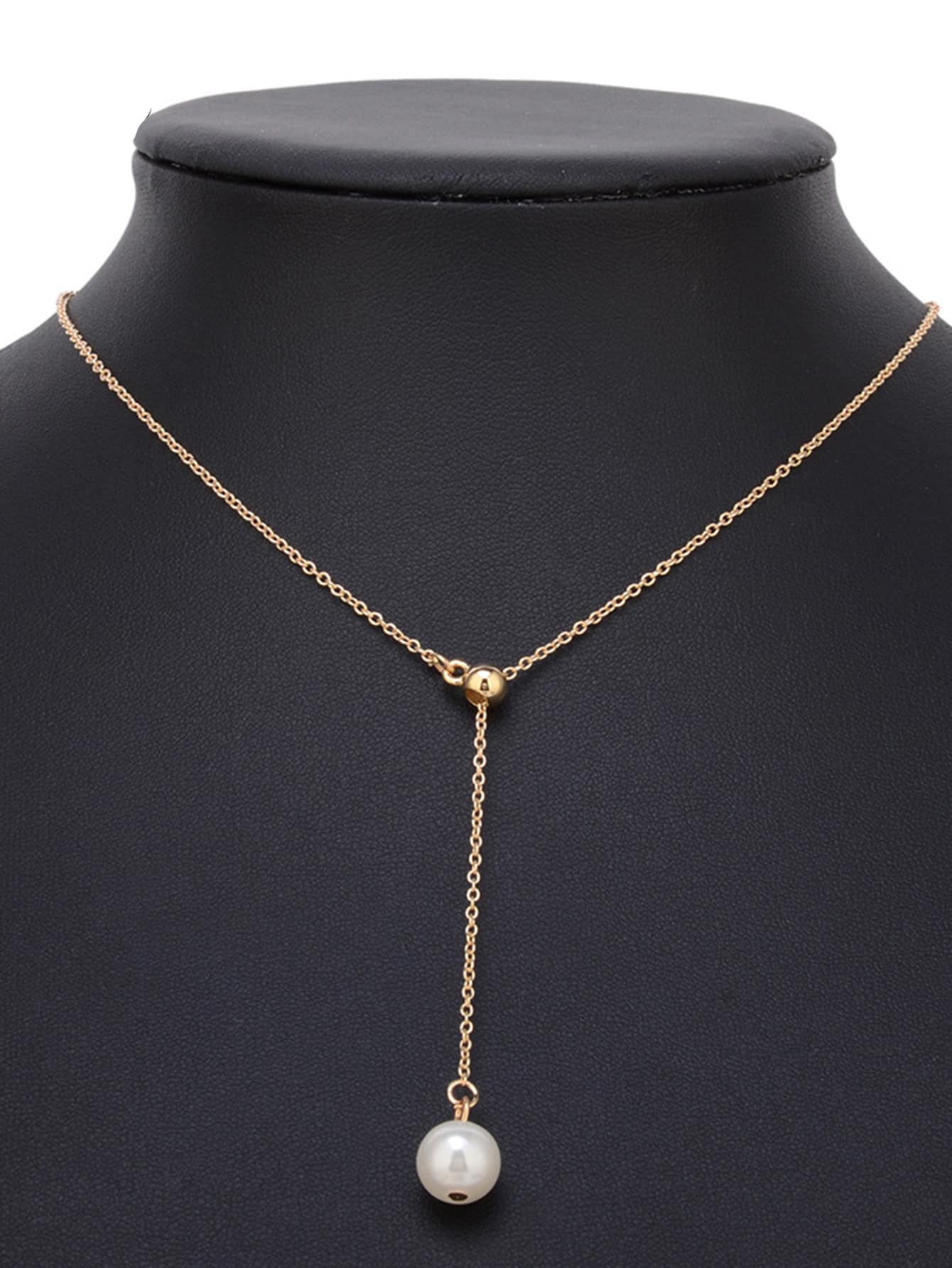 Single Faux Pearl Decorated Chain Necklace