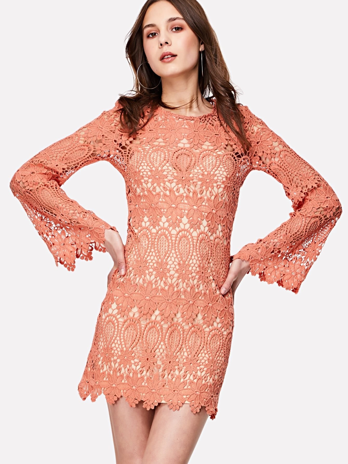 Фото Guipure Lace Dress With Inner Slip