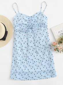 Calico Print Drawstring Cami Dress