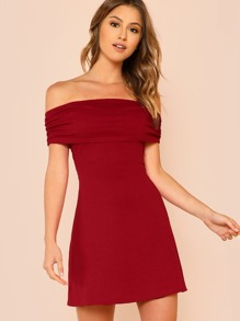 Fold Over Off Shoulder Dress
