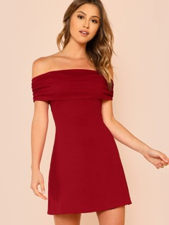 Off Shoulder Fold Over Dress