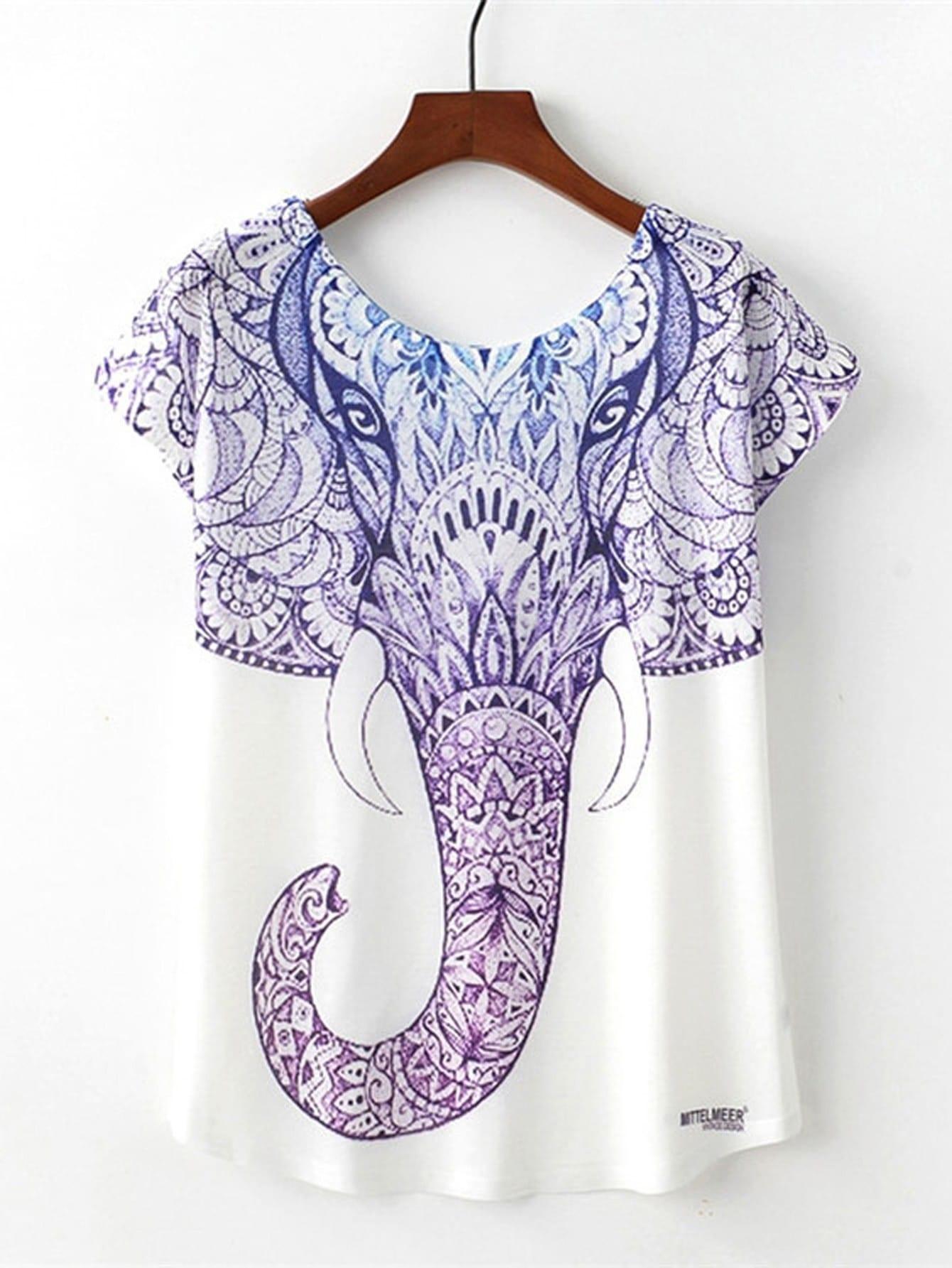 Ornate Elephant Print T-shirt