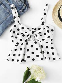 Pleated Back Polka Dot Cami Top