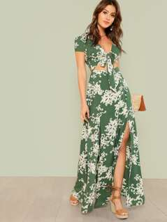 Tropical Print Tie Front Cut Out Dress GREEN