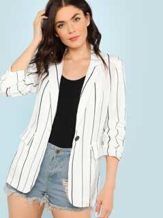 Pin Stripe Blazer with Ruched Cuffs and Dual Pockets