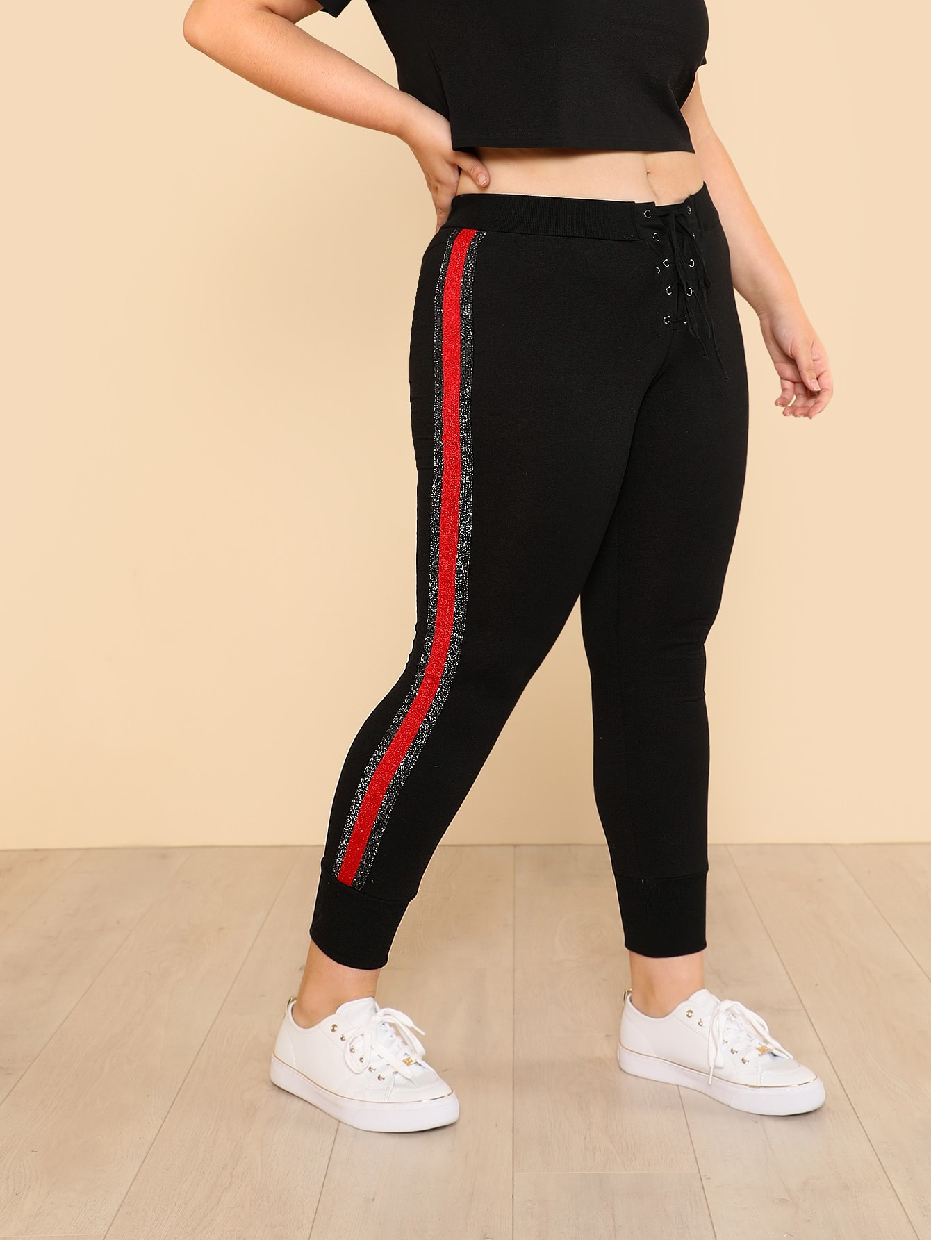 Grommet Lace Up Fly Striped Side Sweatpants striped grommet lace up dropped shoulder top