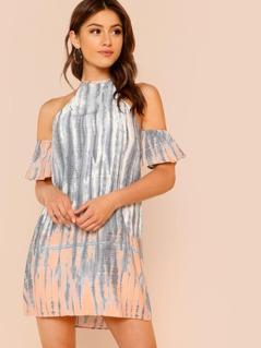 Ruffle Sleeve Tie Dye Halter Dress