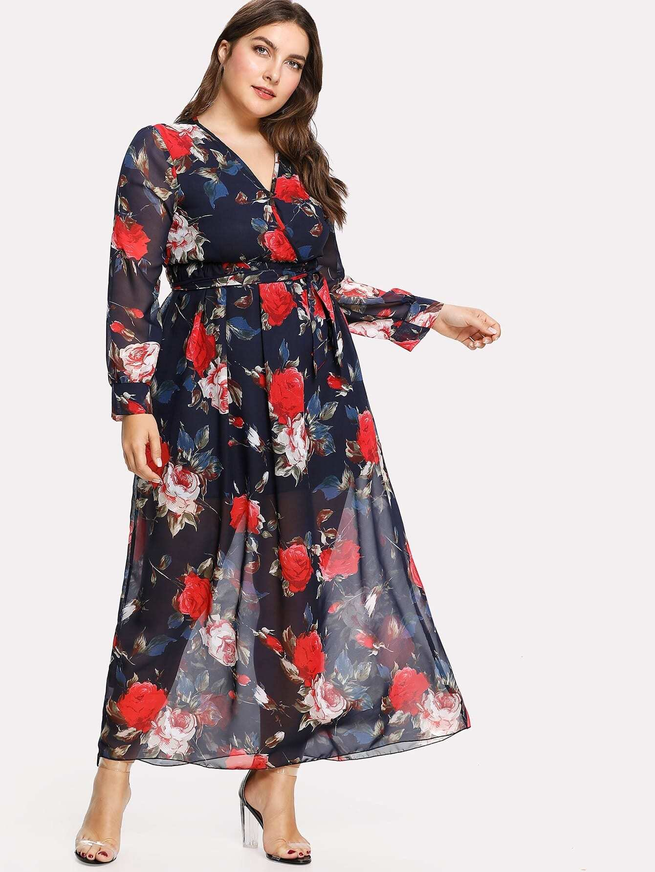 Plus Surplice Neckline Belted Florals Dress