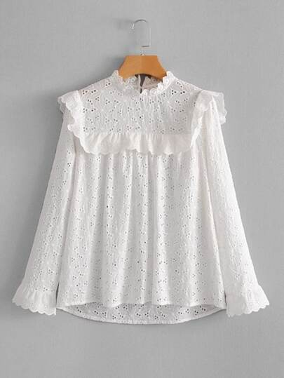 Eyelet Embroidered Ruffle Blouse