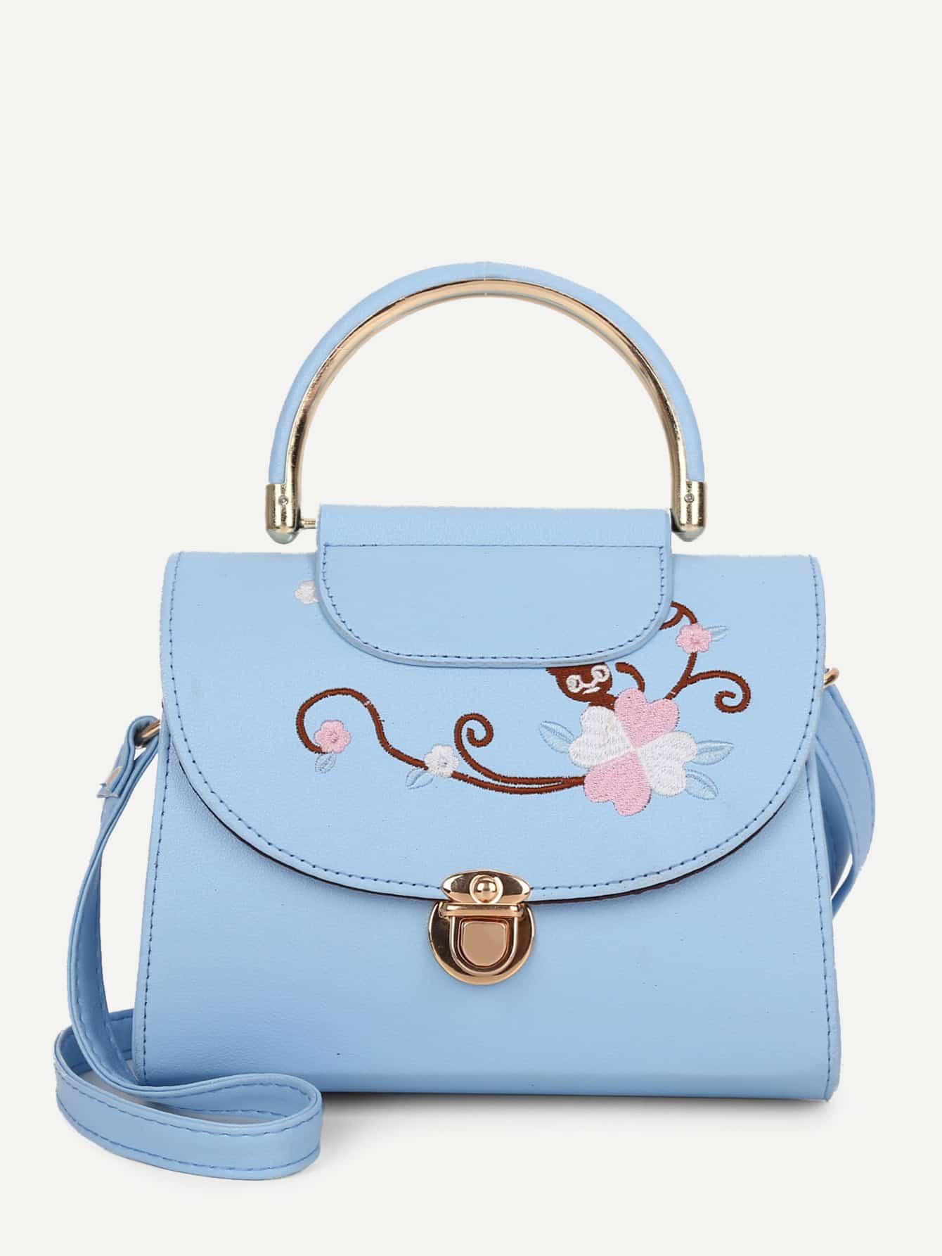 Floral Embroidered Grab Bag