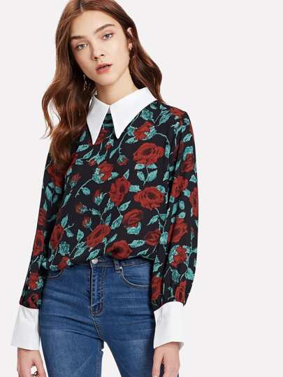 Contrast Collar & Cuff Rose Print Blouse