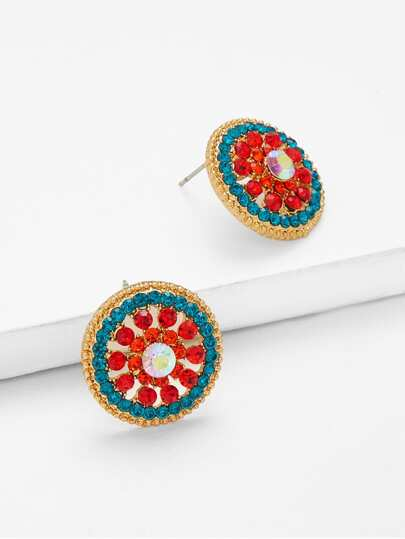 Mixed Rhinestone Decorated Stud Earrings