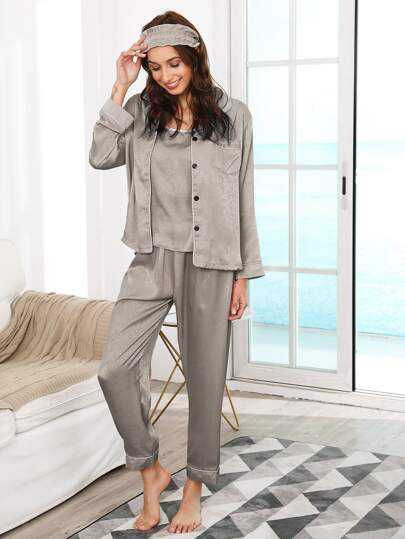 7Pcs Contrast Binding Shirt & Pants PJ Set