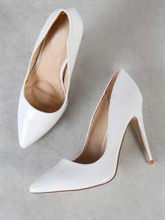 Patent Pointy Toe Stiletto Heels WHITE