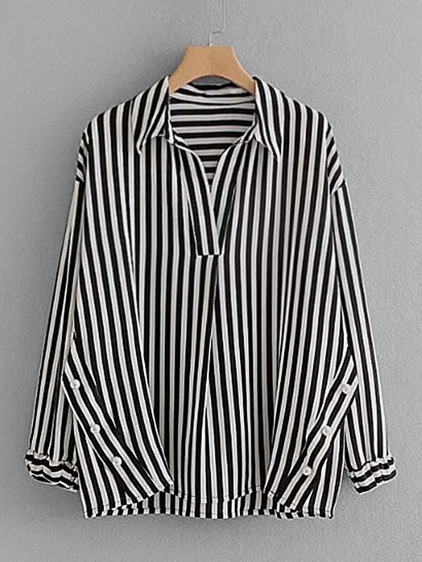 Contrast Stripe Pearl Detail Blouse