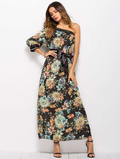 Flower Print One Shoulder Longline Dress