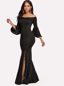 Split Side Off Shoulder Longline Dress