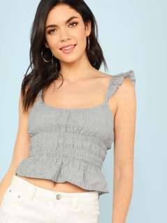 Pin Stripe Shirred Crop Top with Raw Hem Shoulder Straps GREY