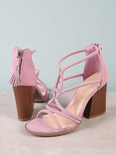 Faux Suede Strappy Caged Chunky Heel with Tassel Zipper Detail ASH LILAC