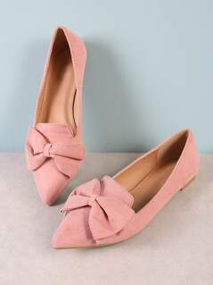 Pointy Toe Flat with Bow BLUSH