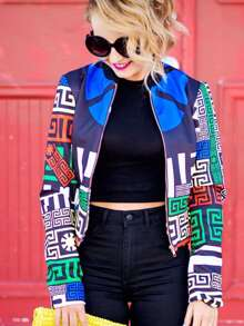 Multicolor Long Sleeve Geometric Print Crop Jacket