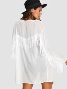 Fringe Trim Semi Sheer Kimono