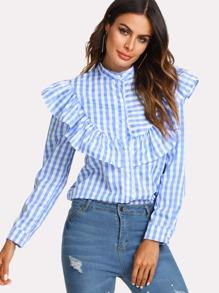 Contrast Stripe Ruffle Shirt
