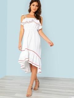 Cold Shoulder Ruffle Trim Dress WHITE