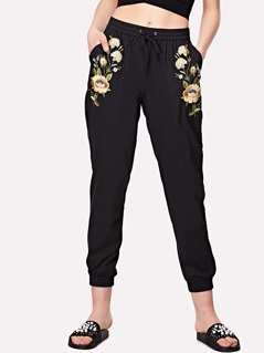 Botanical Embroidered Drawstring Sweatpants