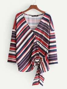 Multi Striped Wrap Top