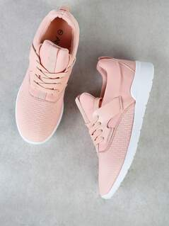 Lace Up Sneakers with Pattern Detail MAUVE