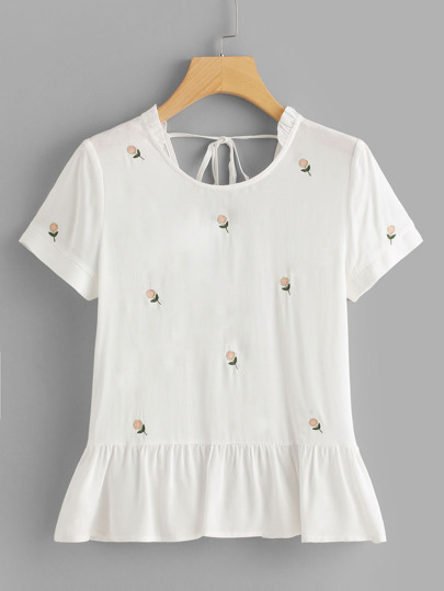 Sunflower Embroidered Ruffle Hem Top
