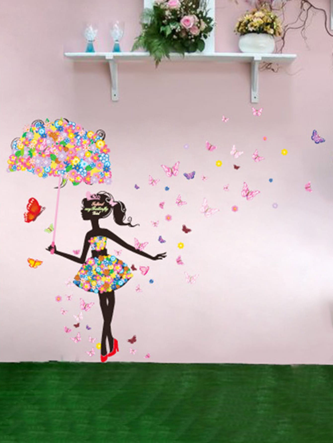 Floral Girl Wall Sticker floral girl wall decal