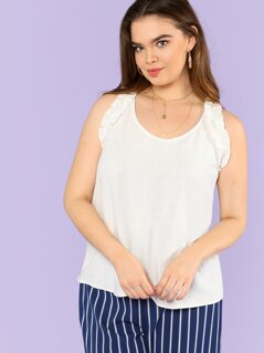 Plus Ruffle Trim Top with Keyhole Back CREAM