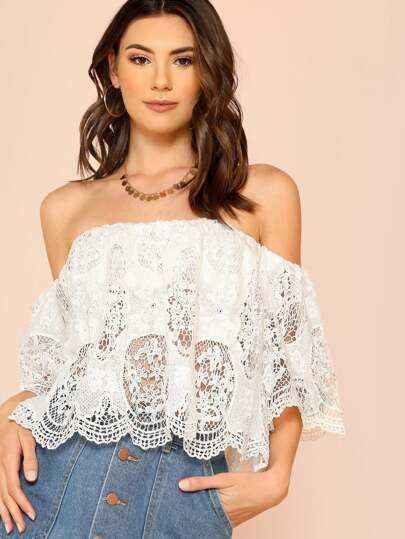 Off Shoulder Crochet Crop Top OFF WHITE