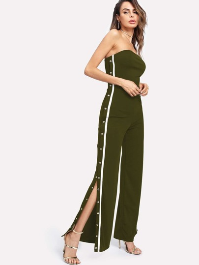 Tape Detail Snap-Button Side Wide Leg Jumpsuit