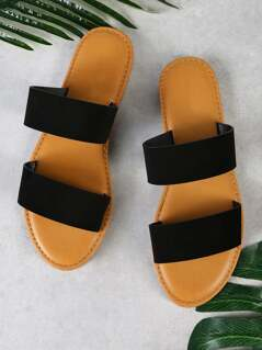 Nubuck Double Band Slide Sandal BLACK